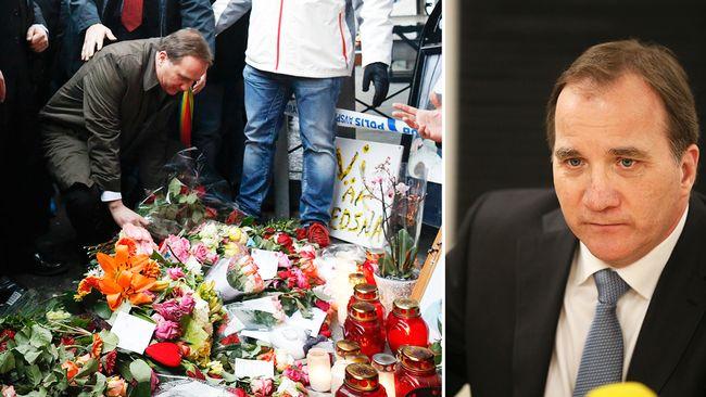 Stefan Löfven på mordplats i Göteborg mars 2015