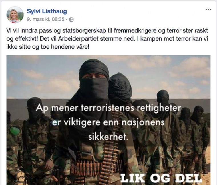 Facebook posten som felte Listhaug